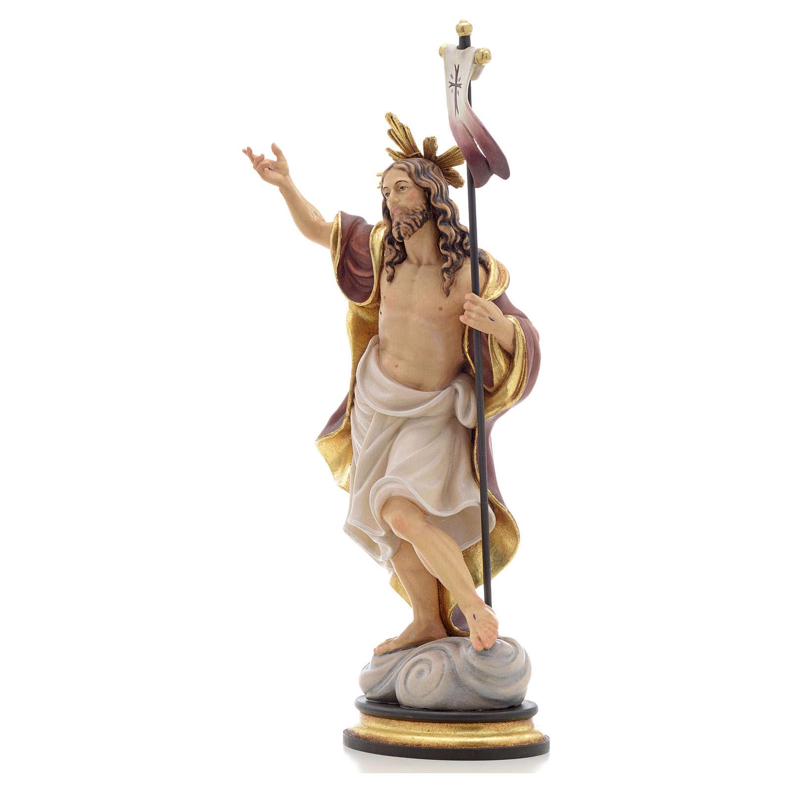 Statue bois Résurrection peinte 4