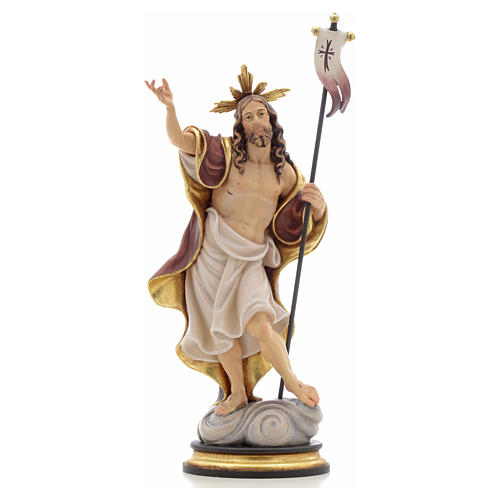 Statue bois Résurrection peinte 1