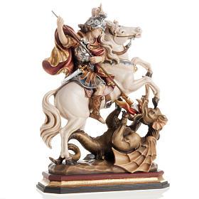 Statues en bois peint: Statue bois Saint Georges à cheval peinte