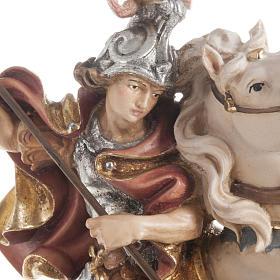 Statua legno San Giorgio cavallo dipinta Val Gardena s2