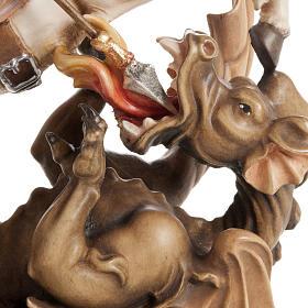 Statua legno San Giorgio cavallo dipinta Val Gardena s3