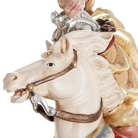 Statua legno San Giorgio cavallo dipinta Val Gardena s5