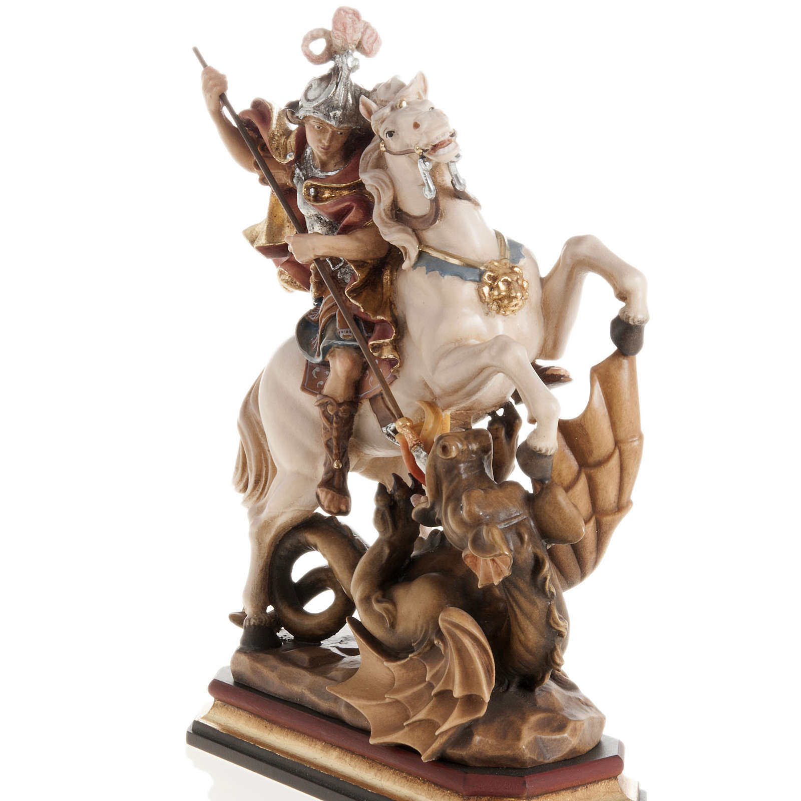 Saint George killing the dragon wooden statue painted 4
