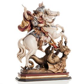 Hand painted wooden statues: Saint George killing the dragon wooden statue painted