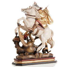 Saint George killing the dragon wooden statue painted s4