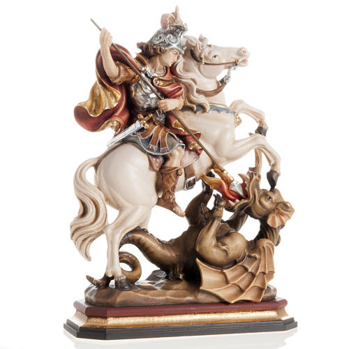 Saint George killing the dragon wooden statue painted 1