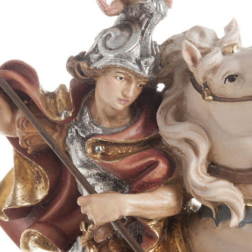 Saint George killing the dragon wooden statue painted 2