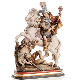 Statues en bois peint: Statue bois St Martin et le pauvre peinte