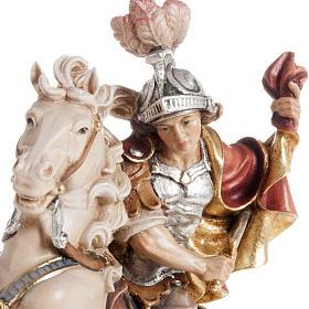 Statua legno San Martino su cavallo dipinta Val Gardena s2