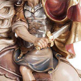 Statua legno San Martino su cavallo dipinta Val Gardena s6