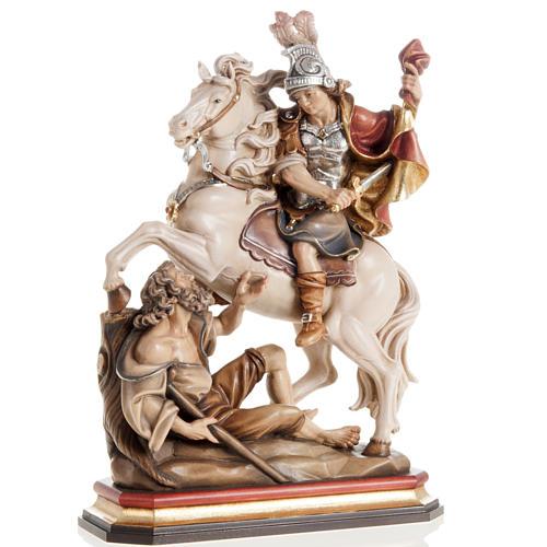 Statua legno San Martino su cavallo dipinta Val Gardena 1