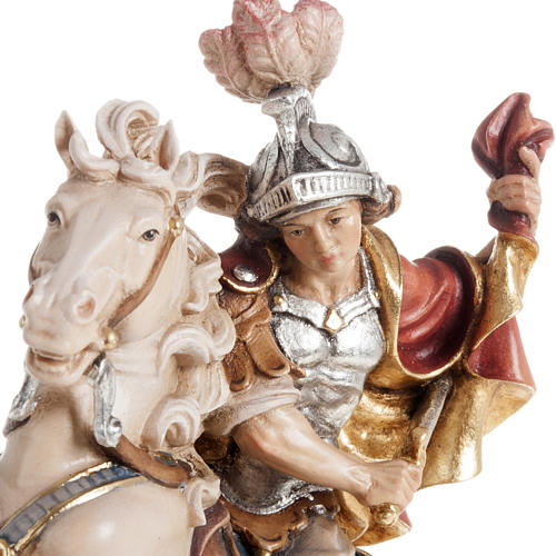 Statua legno San Martino su cavallo dipinta Val Gardena 2