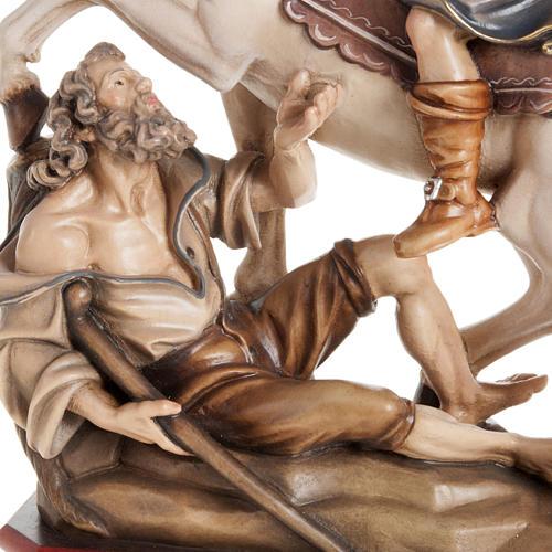 Statua legno San Martino su cavallo dipinta Val Gardena 3