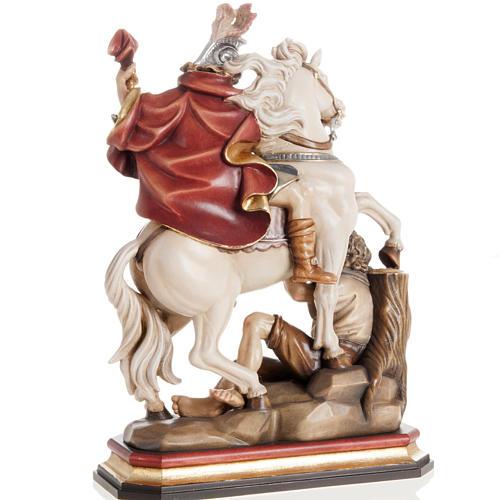 Statua legno San Martino su cavallo dipinta Val Gardena 5