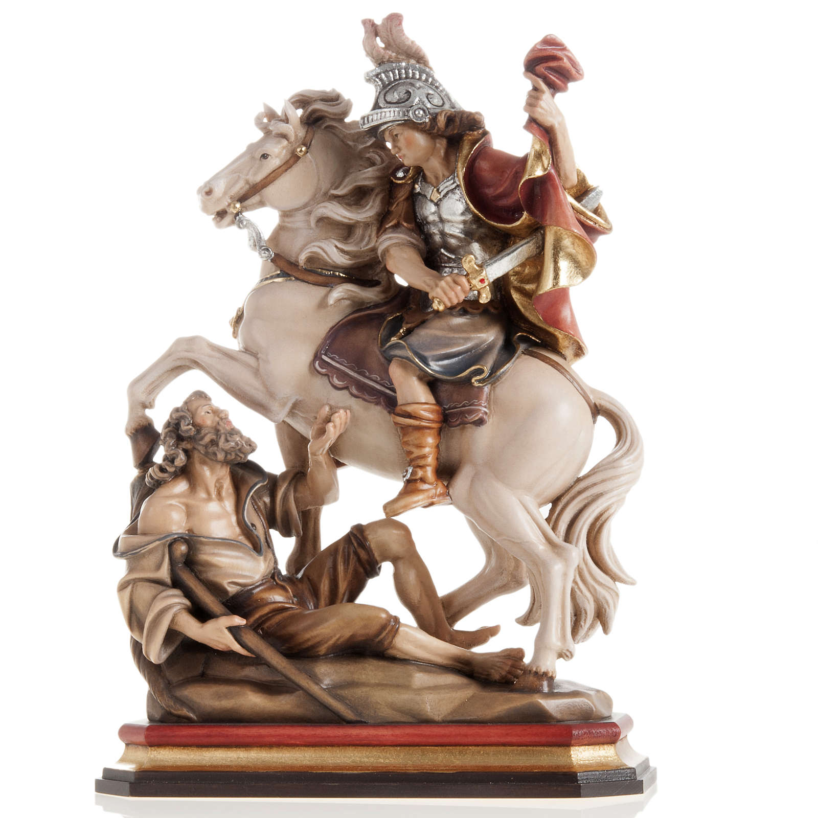 St Martin and the Beggar wooden statue painted 4