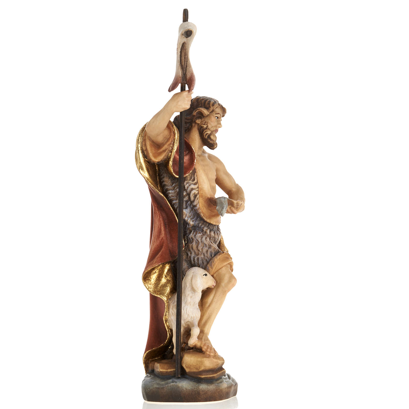 Estatua de madera San Juan Bautista pintada Val Gardena 4