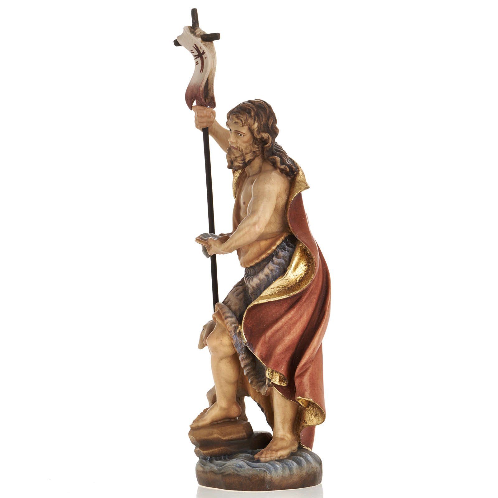 Statue bois St Jean Baptiste peinte 4