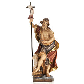 Statues en bois peint: Statue bois St Jean Baptiste peinte