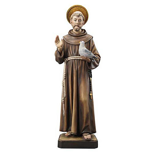 Estatua de madera San Francisco pintada Val Gardena 1