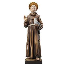 Statues en bois peint: Statue bois St François peinte