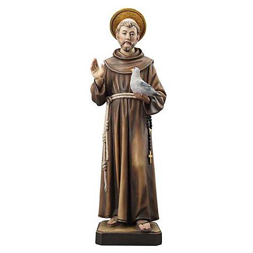 Statue bois St François peinte 1