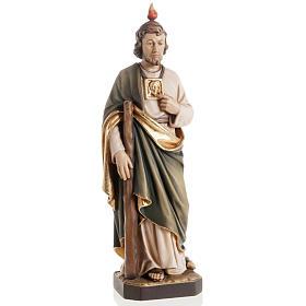 Statues en bois peint: Statue bois St Jude Thaddée peinte
