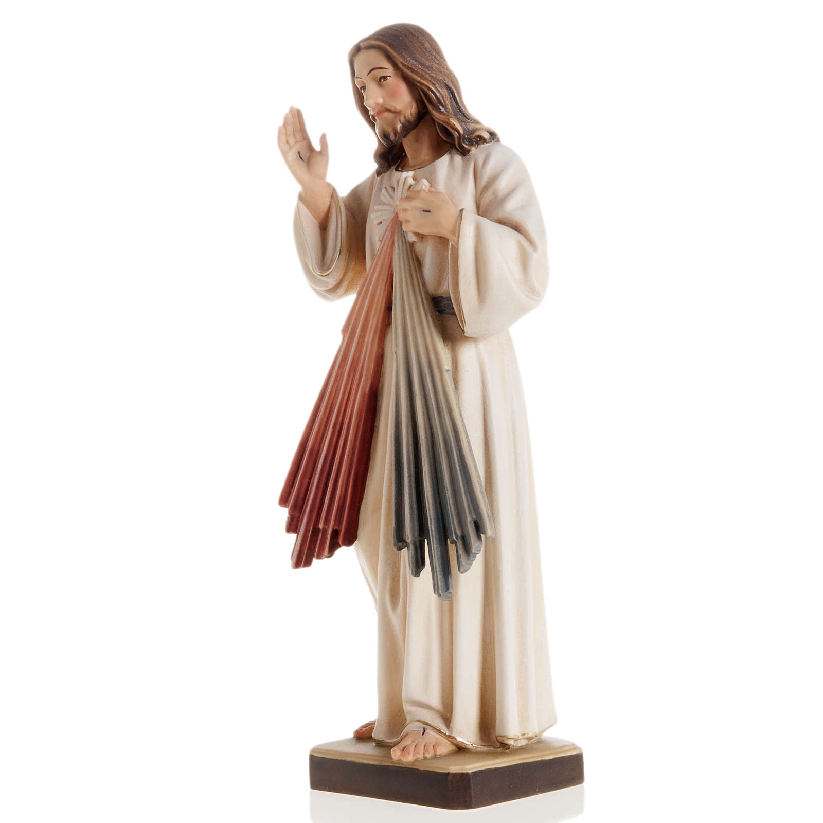 Statue bois Jésus Miséricordieux peinte 4