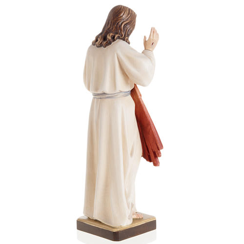 Statue bois Jésus Miséricordieux peinte 5