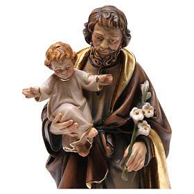 Estatua madera San José con niño pintada s2