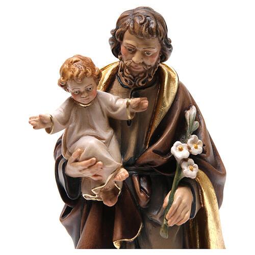 Estatua madera San José con niño pintada