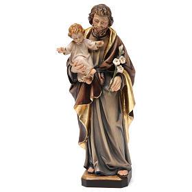 Statues en bois peint: Statue St Joseph à l'enfant bois peint