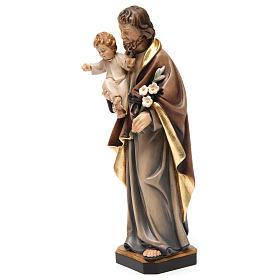 Statue St Joseph à l'enfant bois peint s3