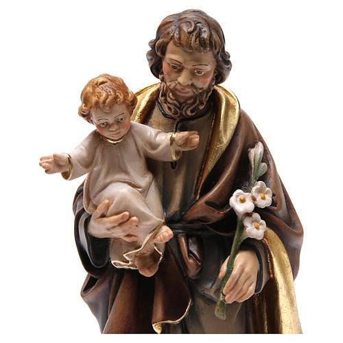 Statue St Joseph à l'enfant bois peint 2
