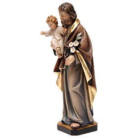 Św. Józef z dzieckiem figurka z drewna malowanego s3