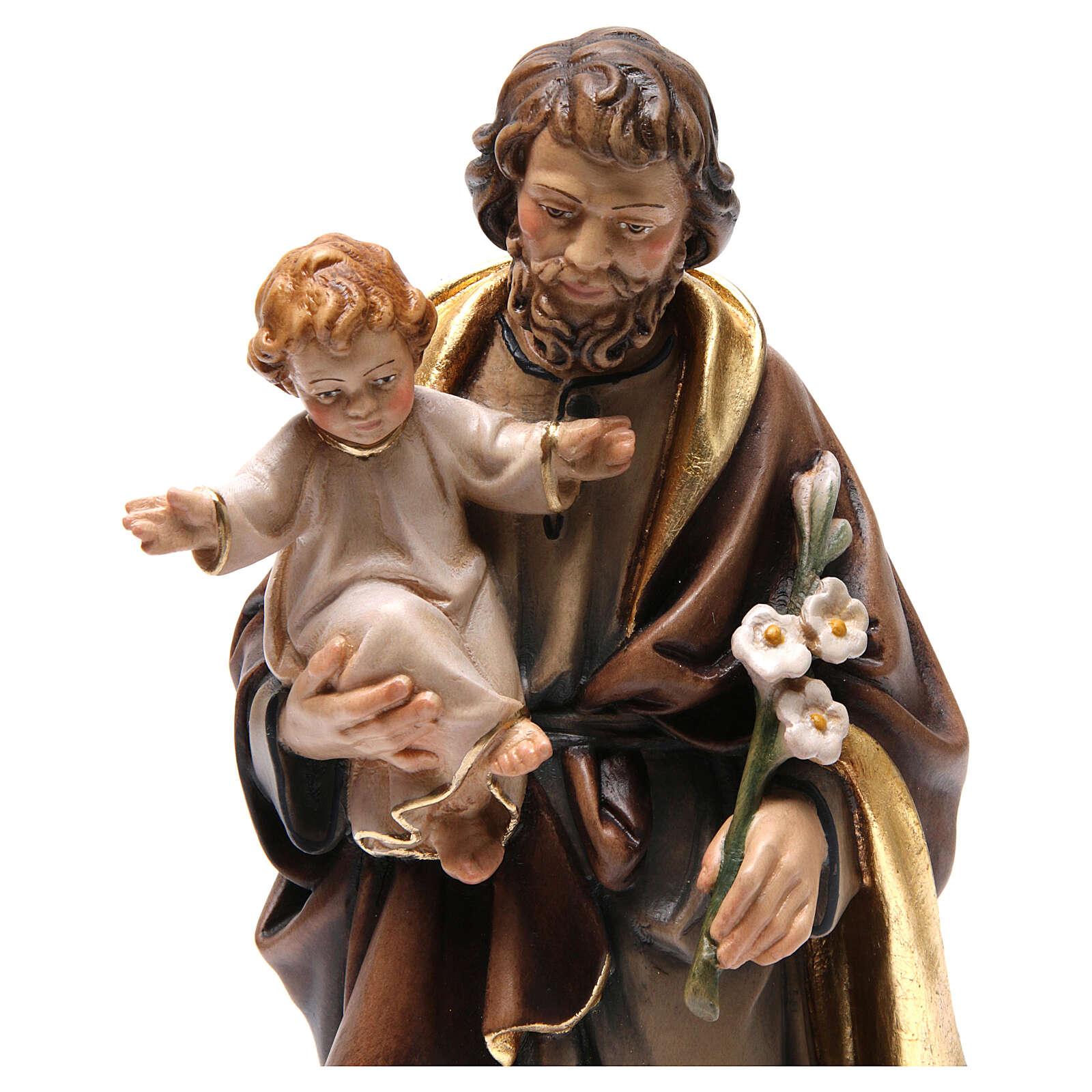 Imagem madeira São José e Menino pintada 4