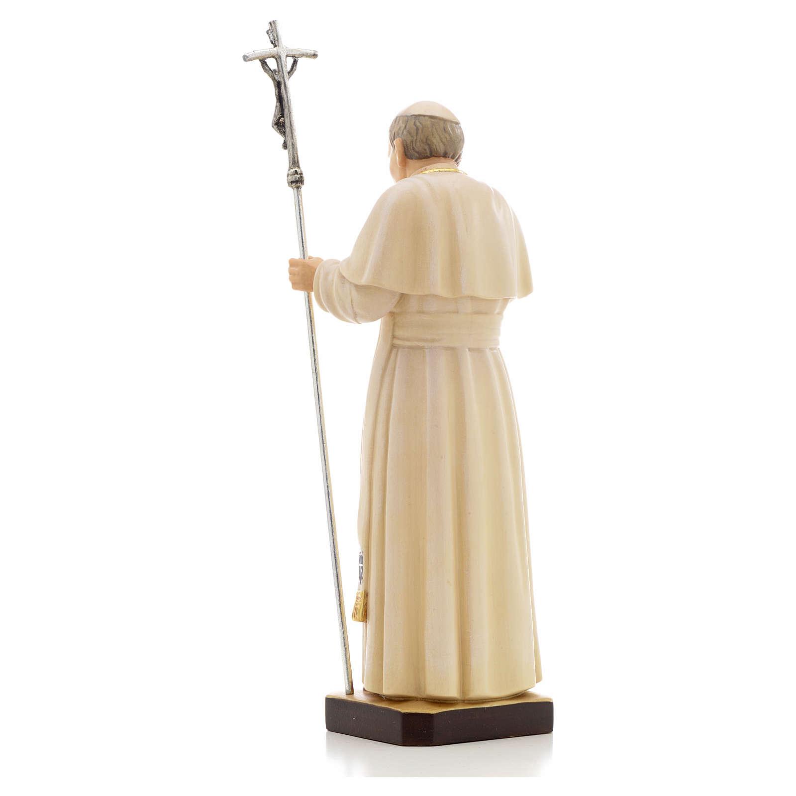 Estatua madera Juan Pablo II pintada Val Gardena 4