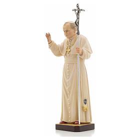 Estatua madera Juan Pablo II pintada Val Gardena s6