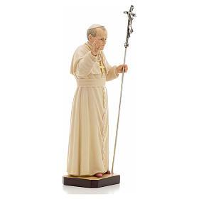 Estatua madera Juan Pablo II pintada Val Gardena s4