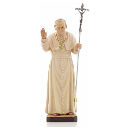 Estatua madera Juan Pablo II pintada Val Gardena 5