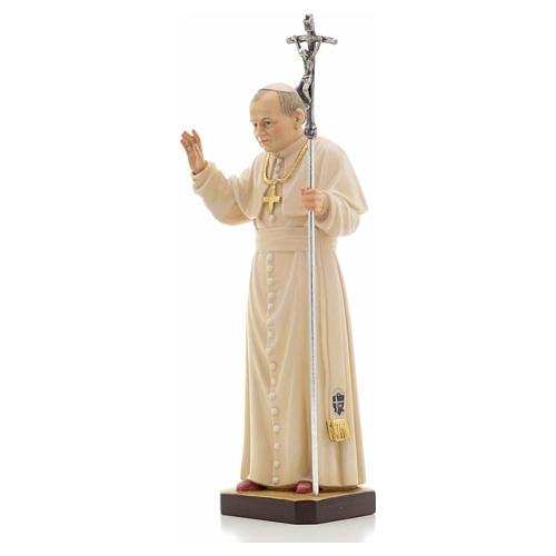 Estatua madera Juan Pablo II pintada Val Gardena 6