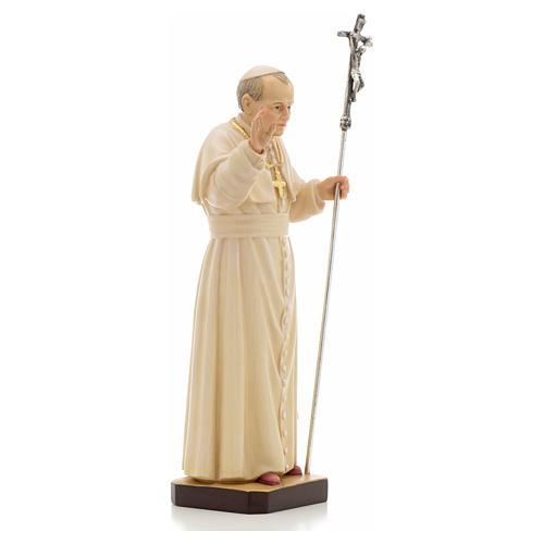 Estatua madera Juan Pablo II pintada Val Gardena 8
