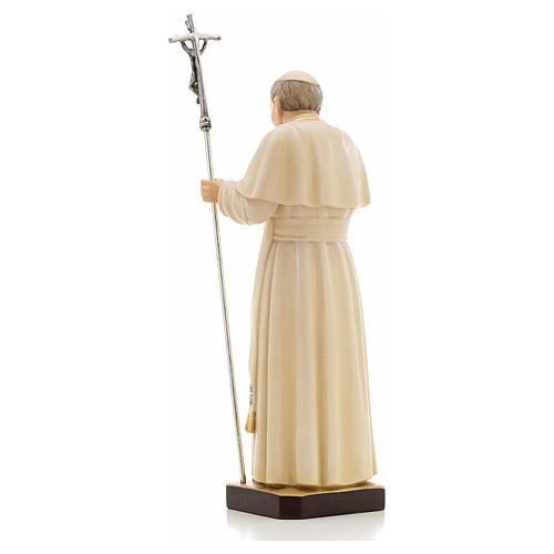 Estatua madera Juan Pablo II pintada Val Gardena 3