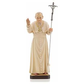 """Statua legno """"Giovanni Paolo II"""" dipinta Val Gardena"""