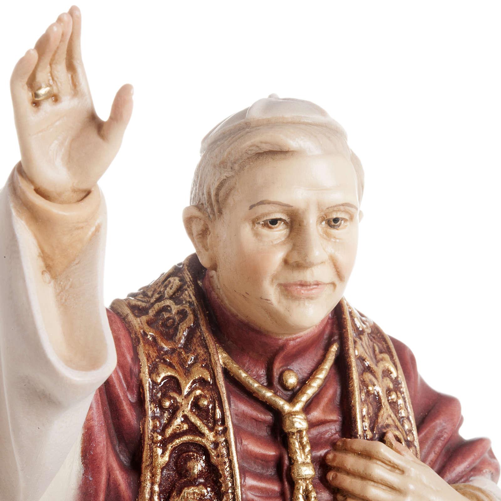 Benedict XVI wooden statue painted 4