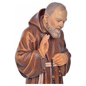 St Father Pio of Pietralcina wooden statue painted s6