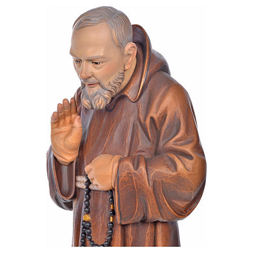 Estatua madera San Pio de Pietrelcina pintada 5