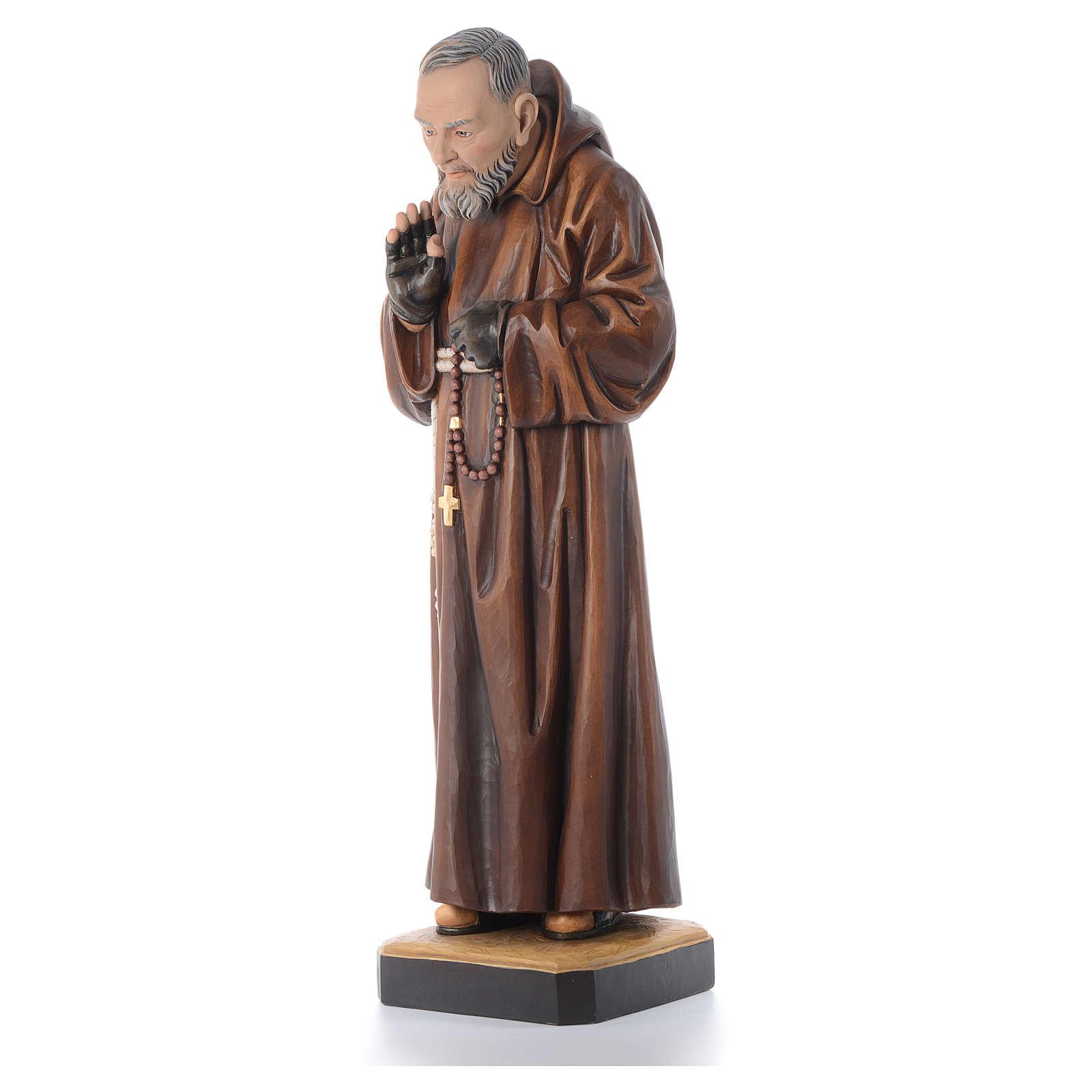 Statue bois St Padre Pio peinte 4