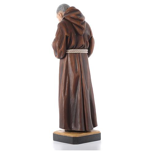 Statue bois St Padre Pio peinte 3