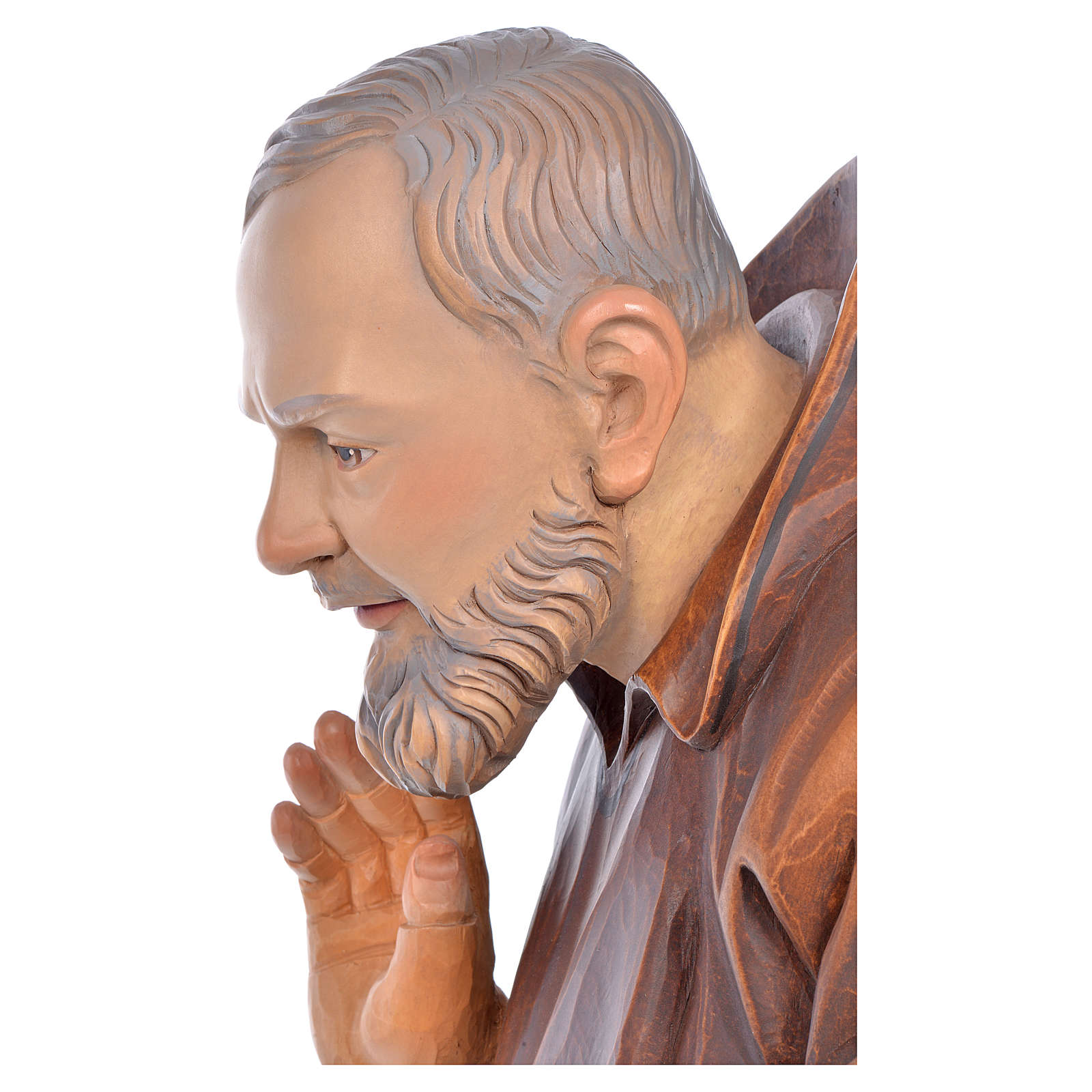 Święty Ojciec Pio z Pietrelciny malowana figurka drewnian 4