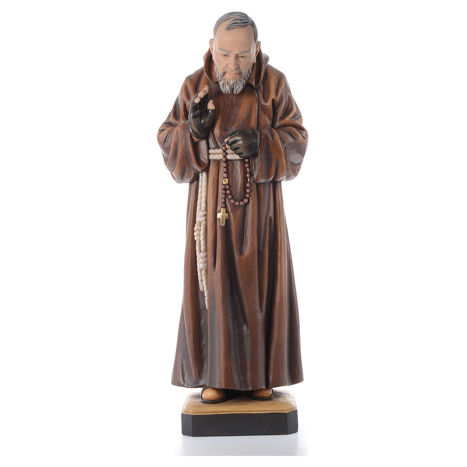 Imagem madeira São Pio de Pietrelcina pintada 4